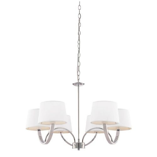 Chrome effect plate & off white tc fabric Pendant Light BX61709-17 by Endon (Double Insulated)